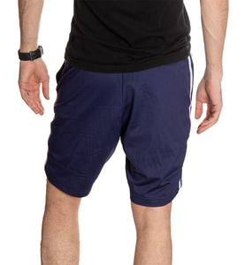 NHL Mens Official Team Two-Stripe Shorts- St. Louis Blues Full Length Back Photo Of Man Wearing Shorts