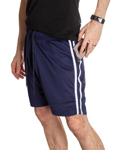 NHL Mens Official Team Two-Stripe Shorts- Buffalo Sabres Full Length Side Photo OF Man Wearing Shorts WIth Hand On Phone In Pocket Side Two Stripes