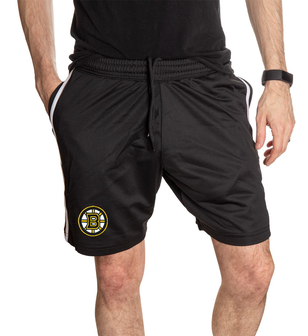 NHL Mens Official Team Two-Stripe Shorts- Boston Bruins  Full Length Photo WIth Mans Hand In Pocket