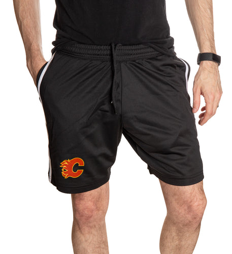 Calgary Flames Two-Stripe Shorts for Men. Front View, Black Shorts.