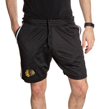 Load image into Gallery viewer, Chicago Blackhawks Two-Stripe Workout Shorts Front View.