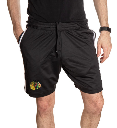 Chicago Blackhawks Two-Stripe Workout Shorts Front View.