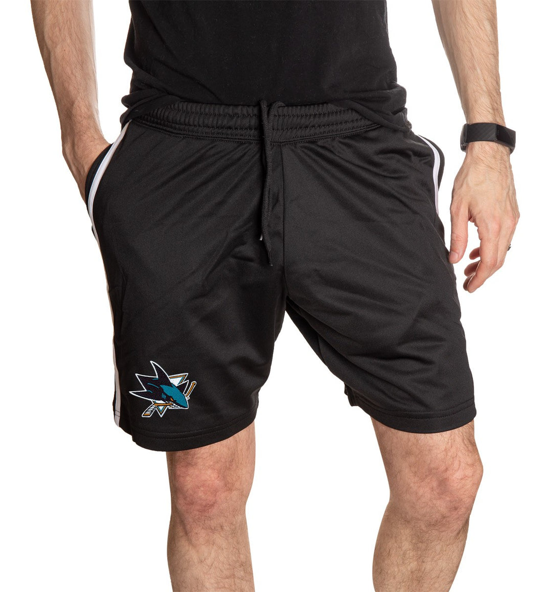 NHL Mens Official Team Two-Stripe Shorts- San Jose Sharks Full Length Front View With Man Hand In Pocket