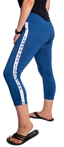 NHL Women's Athletic Capri Workout Leggings- Tampa Bay Lightning Side Leg Logo