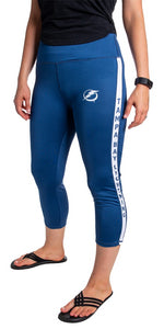 NHL Women's Athletic Capri Workout Leggings- Tampa Bay Lightning Front