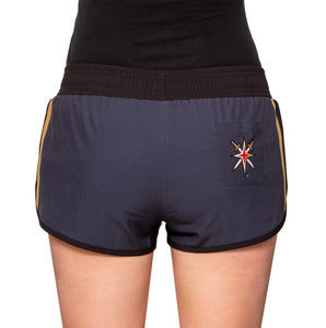 Ladies NHL Swim Board Short- Vegas Golden Knights Back View With Star On One Bottom Butt Pocket