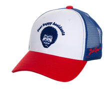 "Load image into Gallery viewer, Officially Licensed Bob Ross ""Just Happy Accidents"" Ball Cap Full Front View With White and Blue Top and Red Brim"