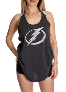 Tampa Bay Lightning Ladies Tank Top, Distressed Logo On Grey Tank.