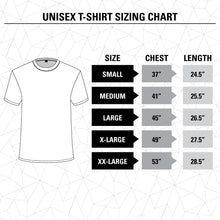 Load image into Gallery viewer, Corona Extra Beachside T-Shirts Size Chart.