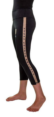 NHL Women's Athletic Capri Workout Leggings- Vegas Golden Knights Side Leg Logo