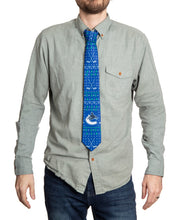 Load image into Gallery viewer, Vancouver Canucks Ugly Christmas Tie Modeled.