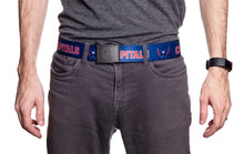 Load image into Gallery viewer, NHL Mens Woven Adjustable Team Logo Belt- Washington Capitals - Man wearing belt front