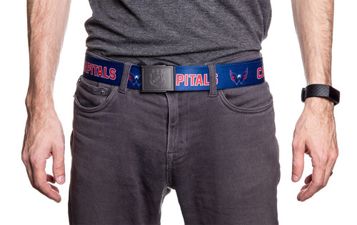 NHL Mens Woven Adjustable Team Logo Belt- Washington Capitals - Man wearing belt front
