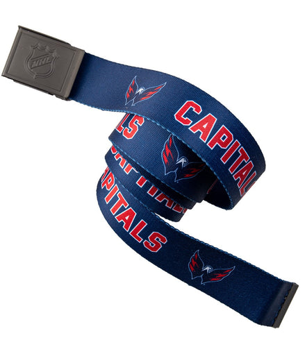 NHL Mens Woven Adjustable Team Logo Belt- Washington Capitals - Belt Swatch