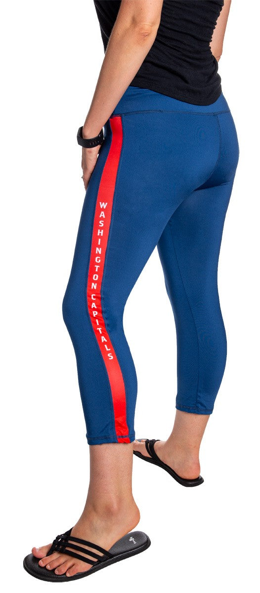NHL Women's Athletic Capri Workout Leggings- Washington Capitals Side Leg Logo
