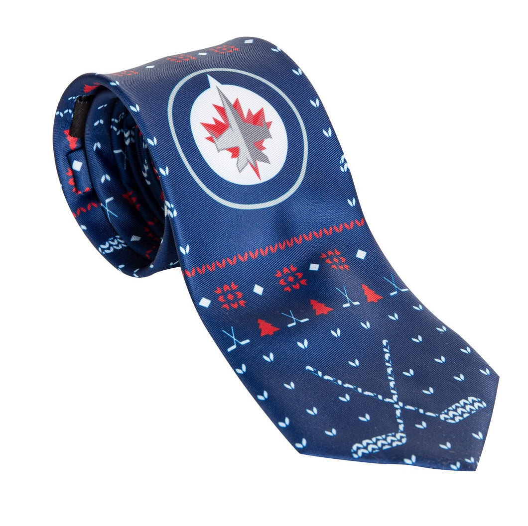 Mens NFL Logo Ugly Christmas Necktie -Winnipeg Jets