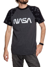 Load image into Gallery viewer, NASA Unisex's Glow in The Dark Raglan T-Shirt- Worm Logo Front