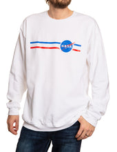 Load image into Gallery viewer, NASA Unisex Stripe Meatball Logo Crew Neck Sweater Front
