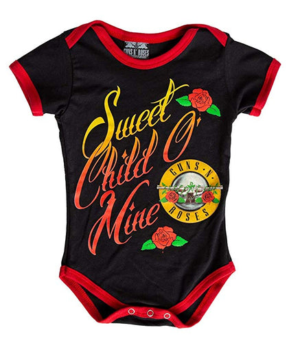 Guns N Roses Sweet Child O' Mine Baby Diaper Suit Romper- Black
