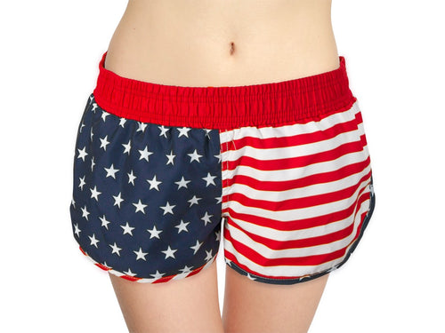 Ladies USA Flag Printed Short Shorts