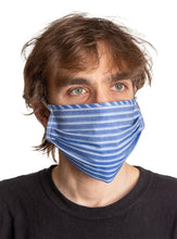 Load image into Gallery viewer, Blue Striped 2 Ply Face Mask, Modeled.