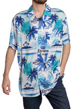 Load image into Gallery viewer, Men's Corona Extra Official Blue Palm Print Camp Shirt Full Front View With Buttons