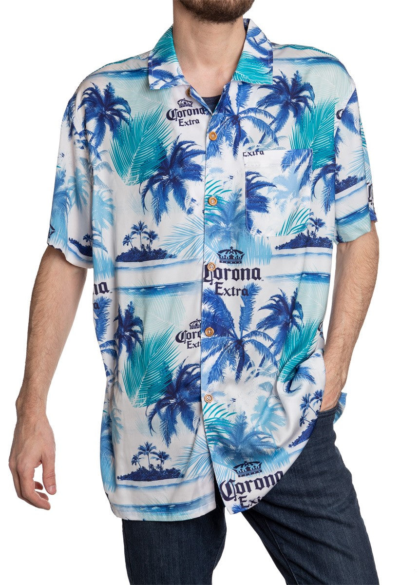 Men's Corona Extra Official Blue Palm Print Camp Shirt Full Front View With Buttons