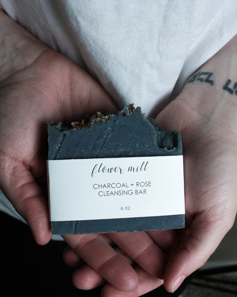 Charcoal + Rose Cleansing Bar