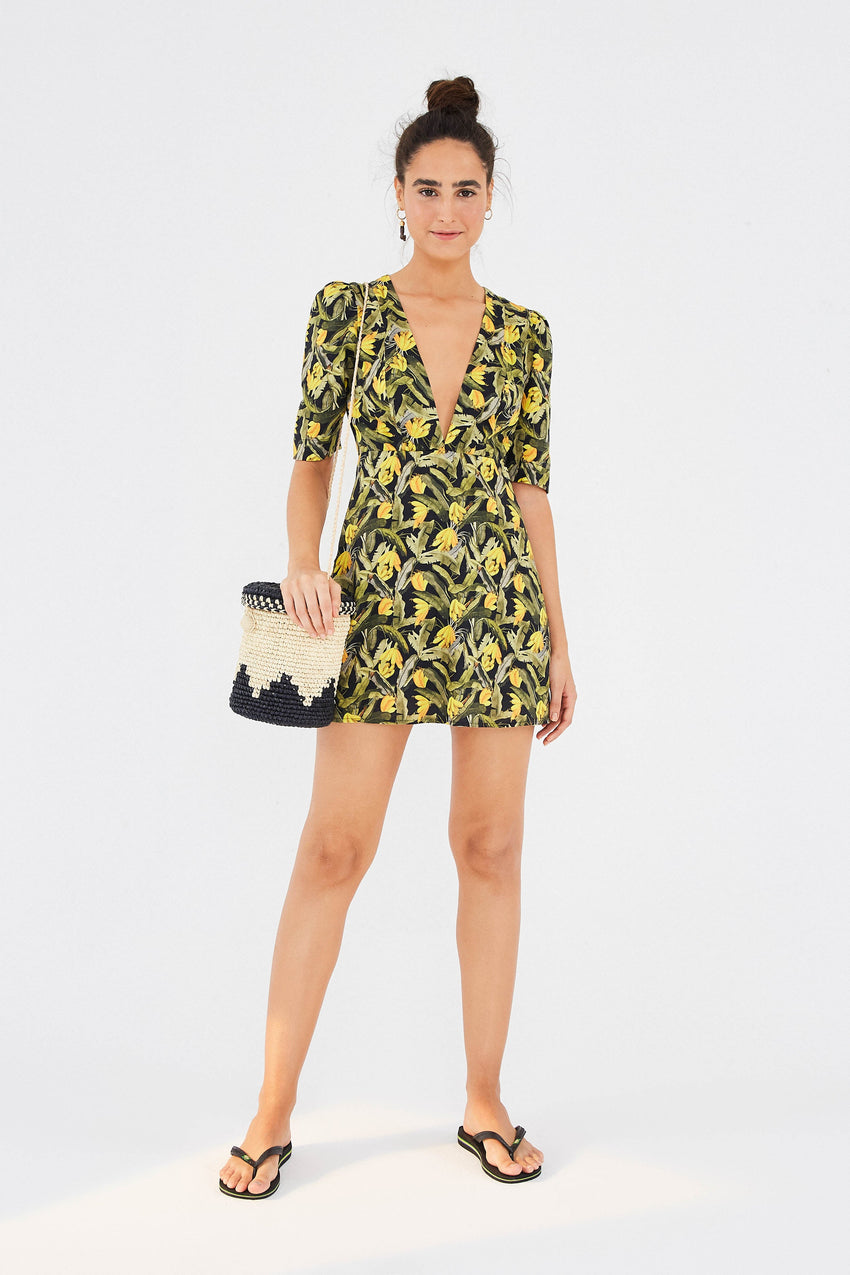 MINI BANANA CRAZE V NECK MINI DRESS