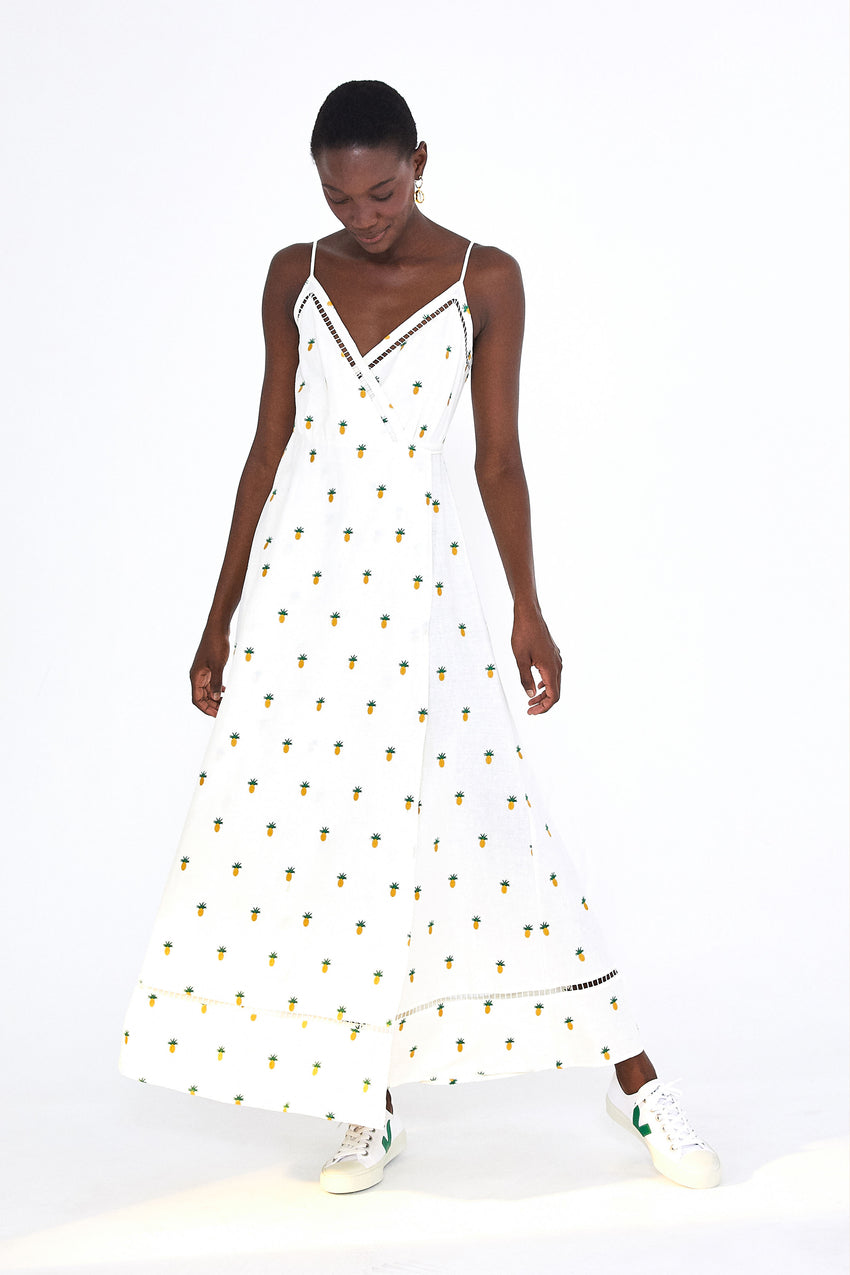 PINEAPPLE EMBROIDERED MAXI