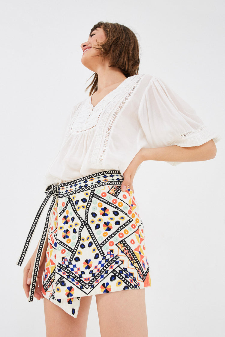 EMBROIDERED DENIM MINI SKIRT