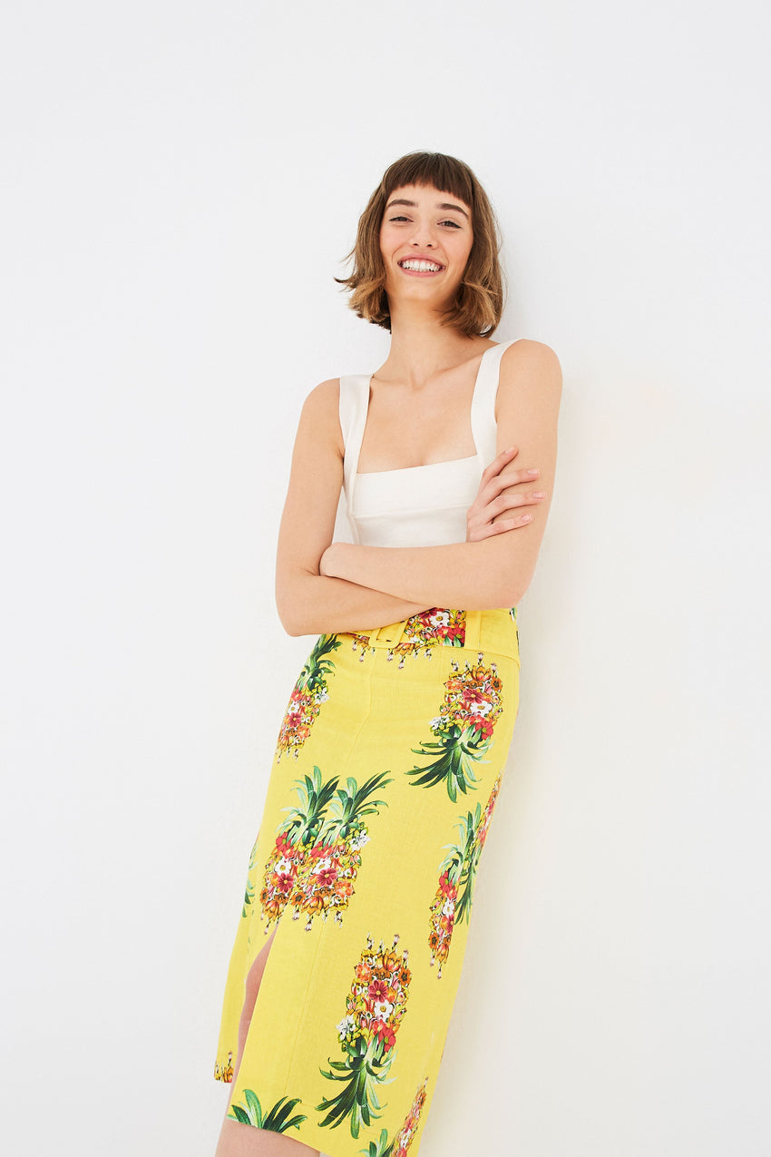 GOLDEN PINEAPPLE LINEN PENCIL SKIRT