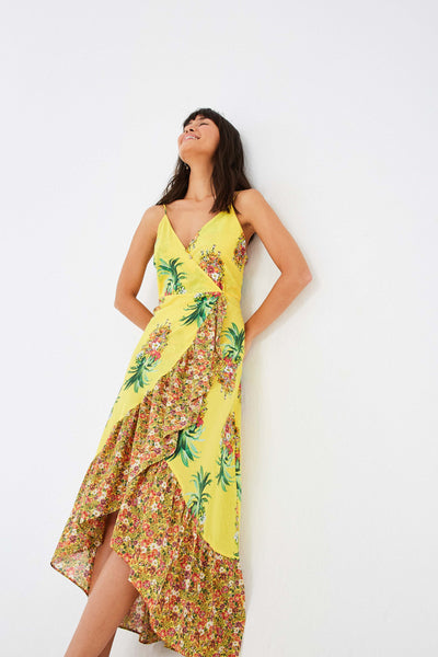 GOLDEN PINEAPPLE MIX PRINT WRAP MAXI DRESS