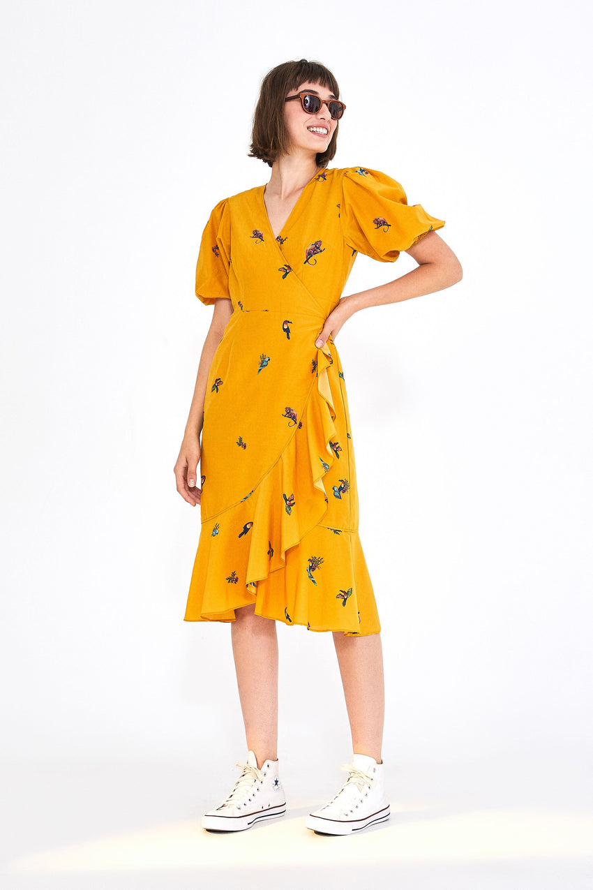 JUNGLE TUCANOS WRAP DRESS