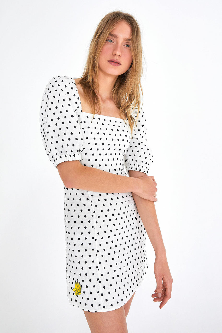 ONCA POLKA DOT PUFFED SLEEVE DRESS
