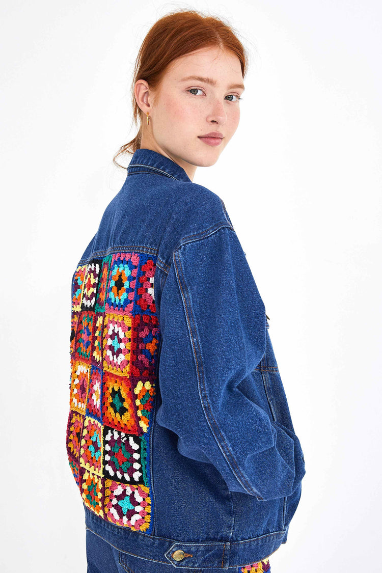 CROCHET SQUARES DENIM BOYFRIEND JACKET
