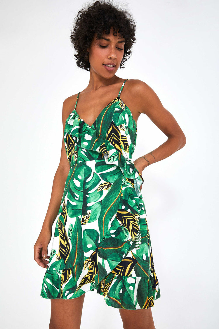 MAX AMAZONIA MINI SLEEVELESS WRAP DRESS
