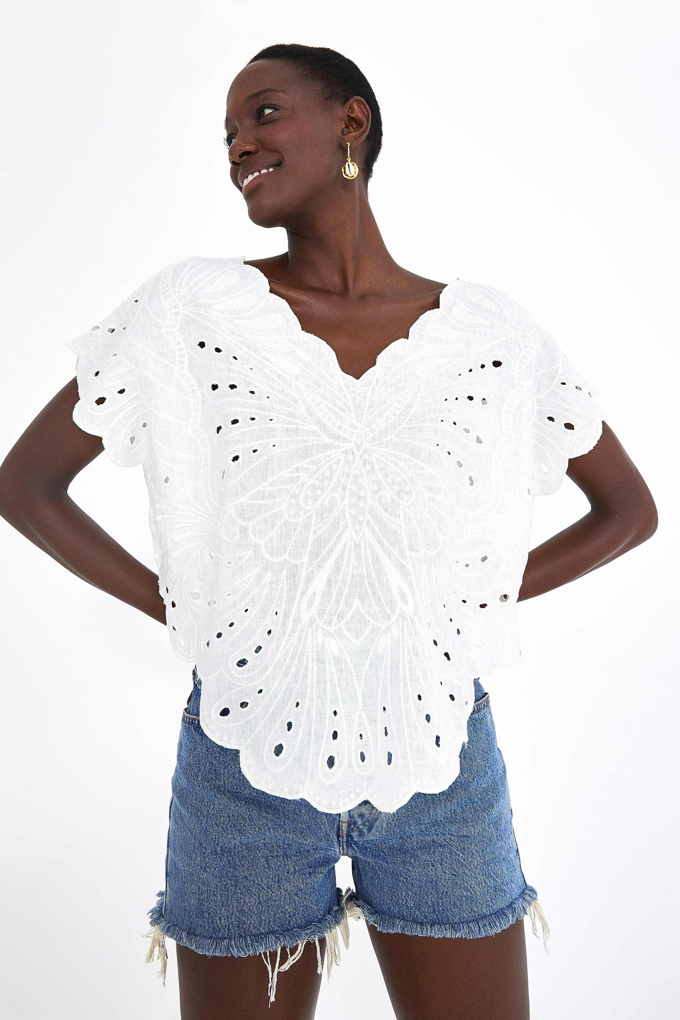 HARMONIA EMBROIDERED BUTTERFLY BLOUSE
