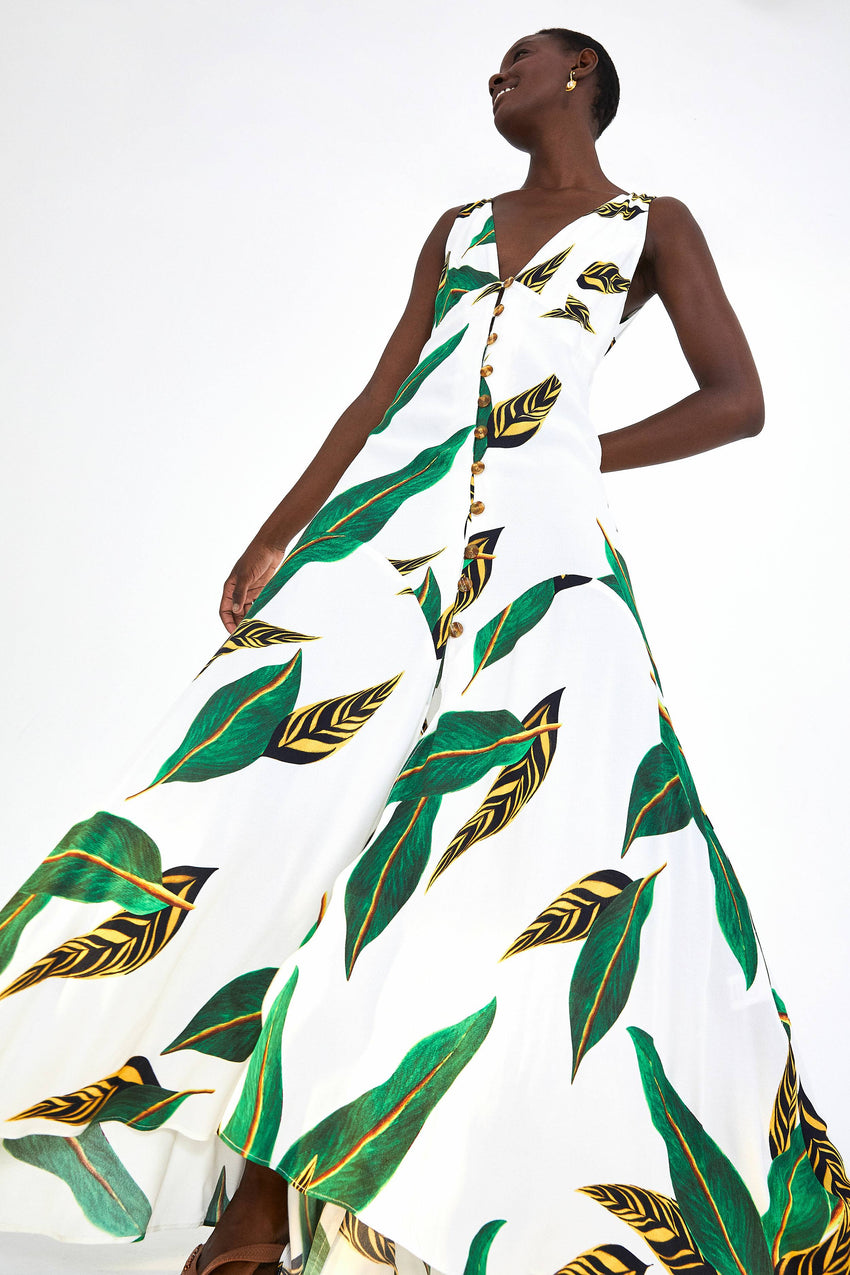 AMAZONIA DREAMS V NECK MAXI DRESS