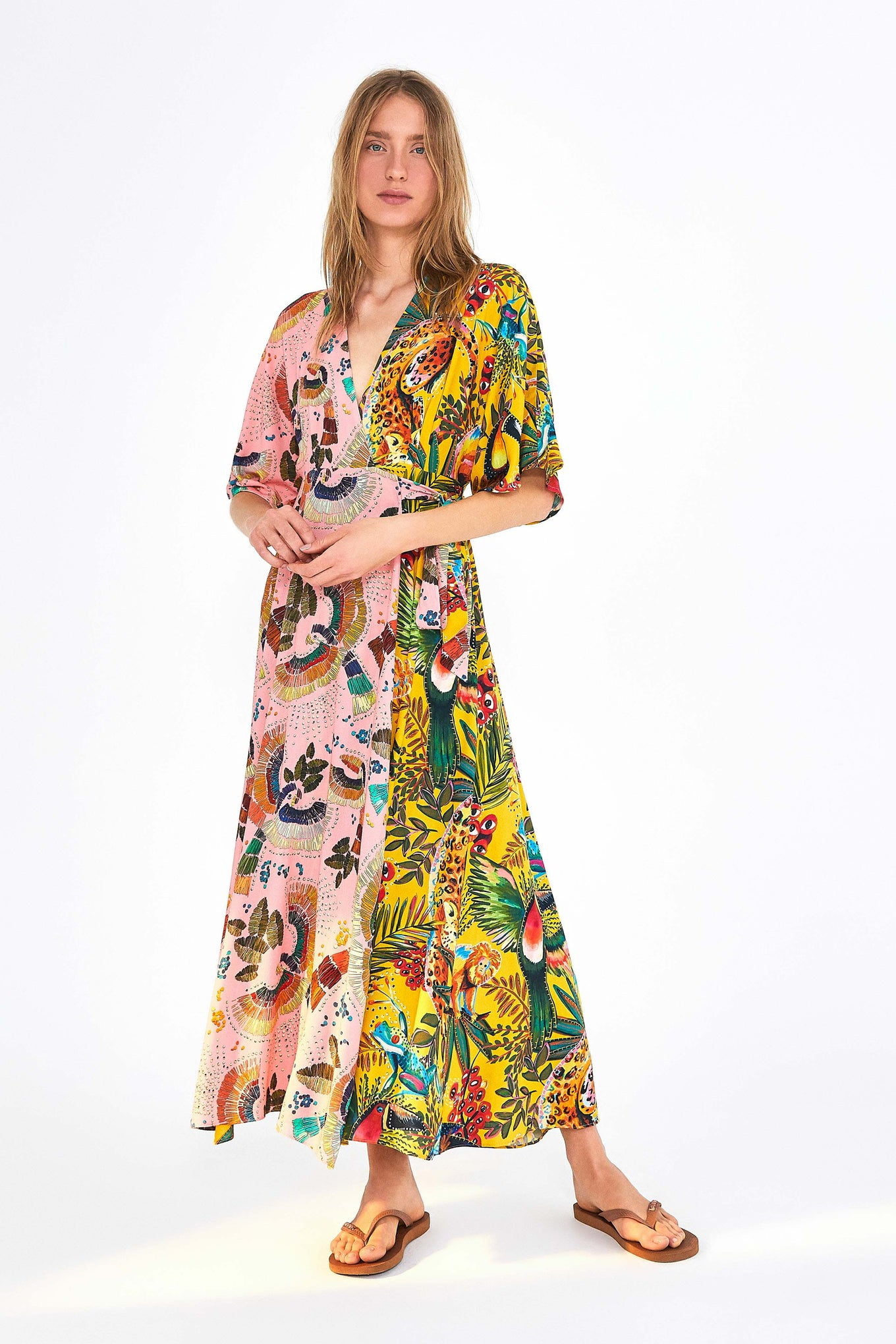 BIRDS IN THE WILD WRAP MAXI DRESS