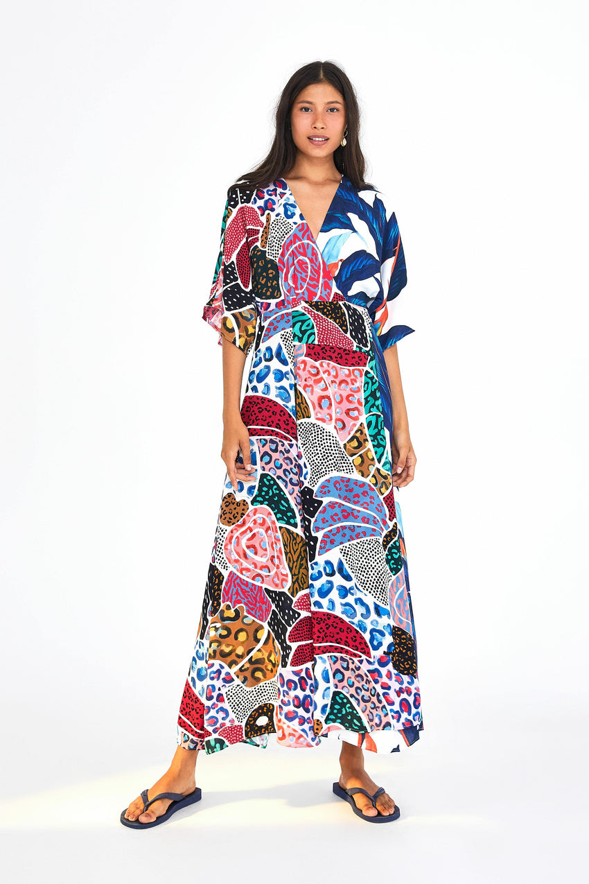 PALM PATCHWORK WRAP MAXI DRESS