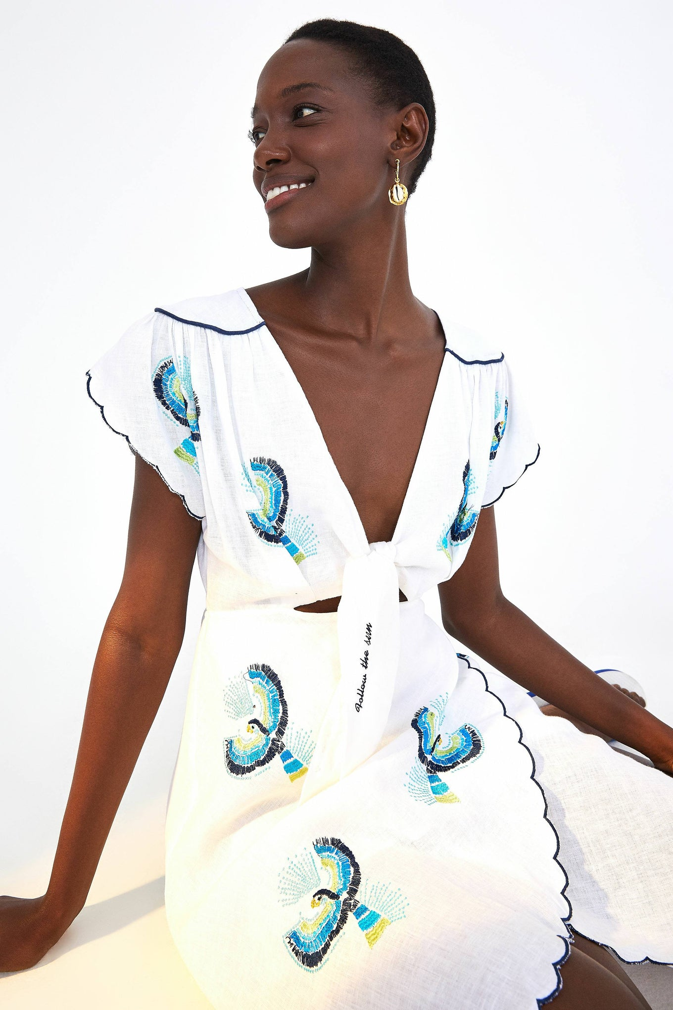 MACAW EMBROIDERED TIE FRONT CUTOUT DRESS