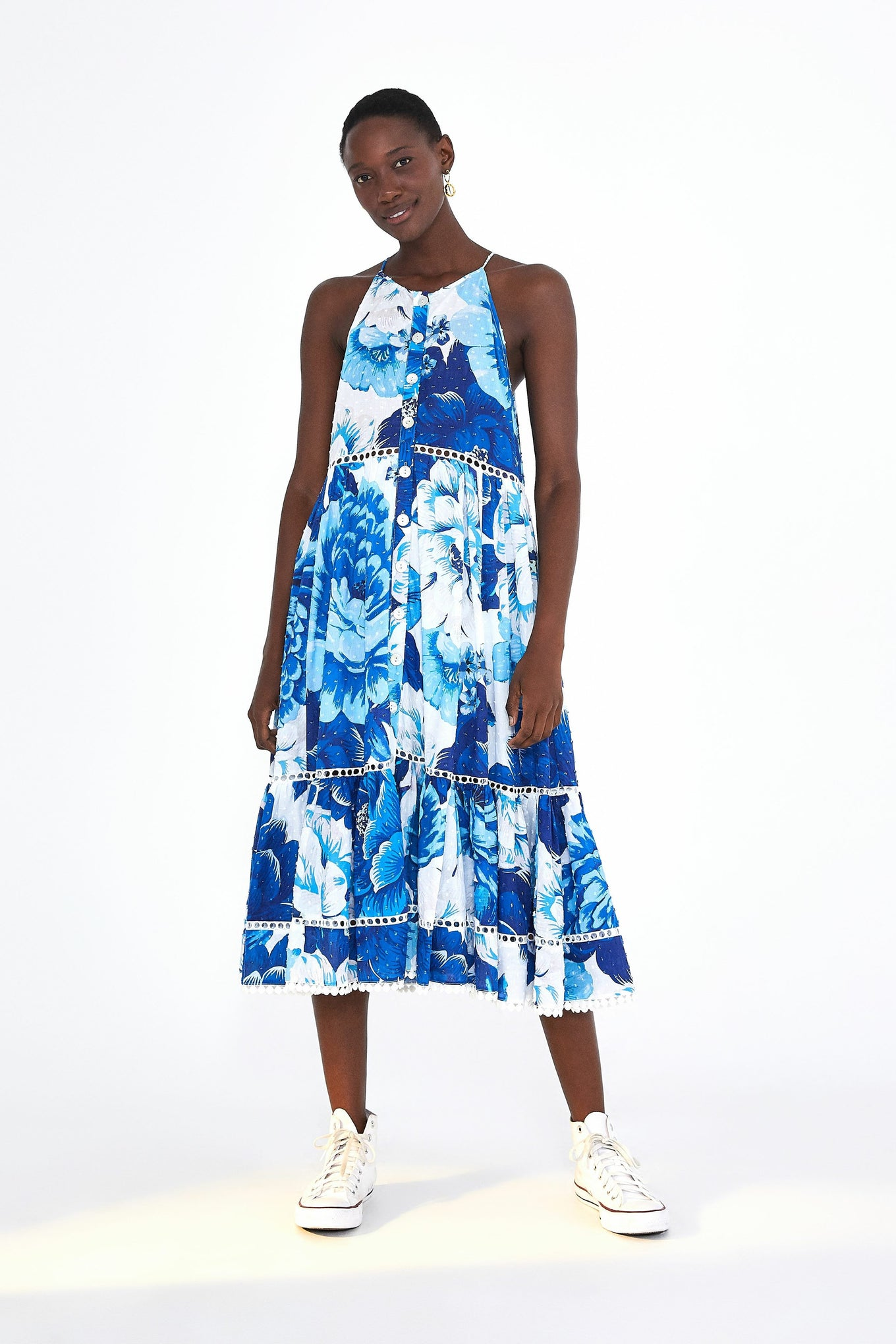 AZULEJO TILE TIERED SLEEVELESS DRESS