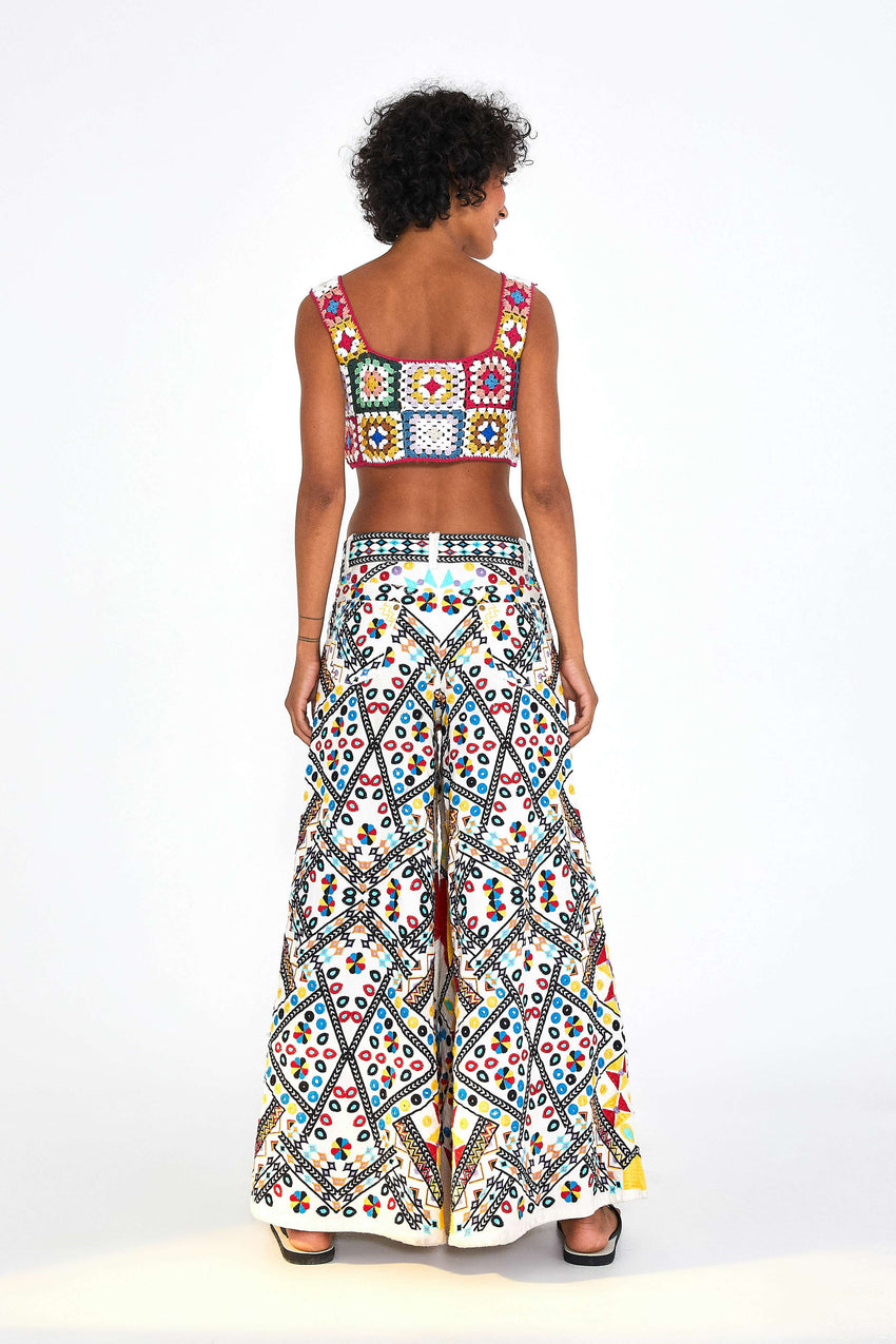 EMBROIDERED WIDE LEG TROUSERS