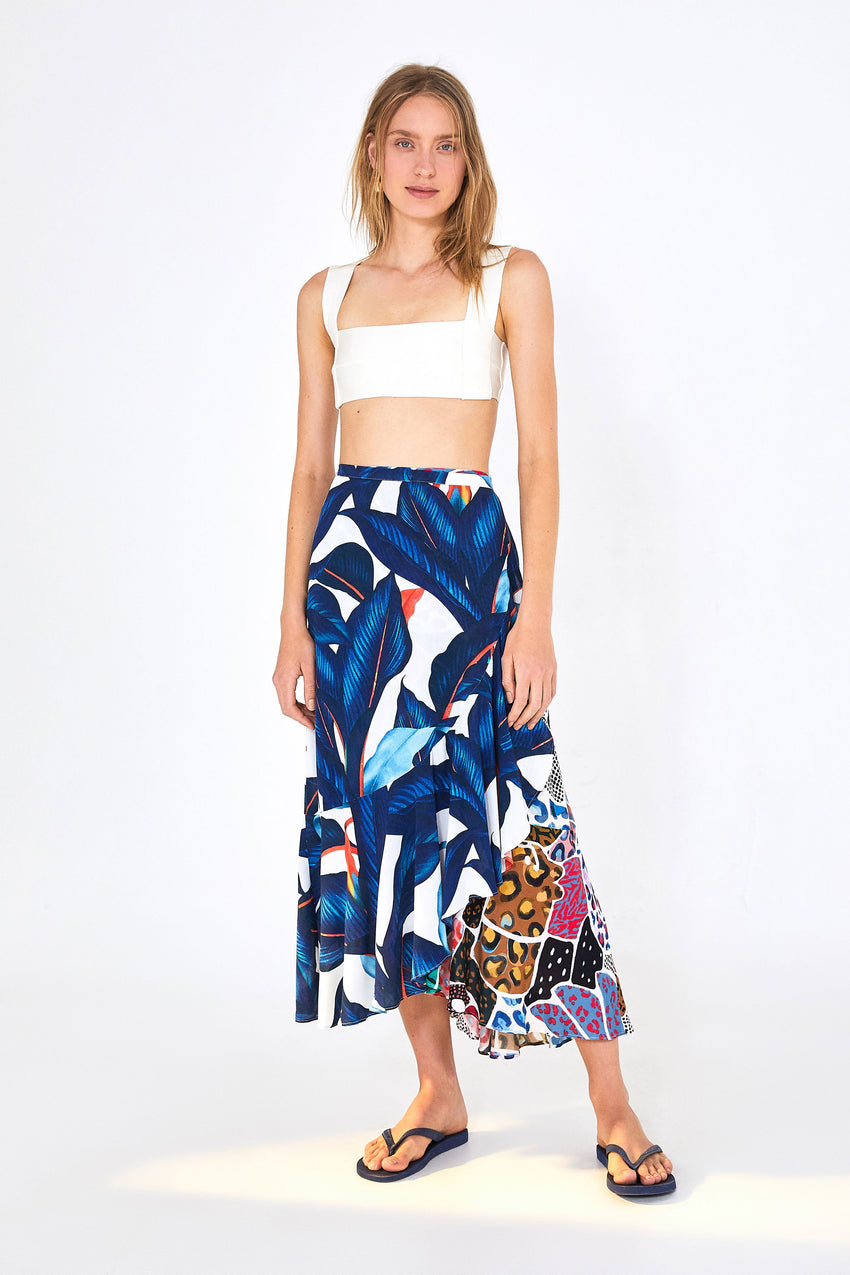PALM PATCHWORK WRAP SKIRT