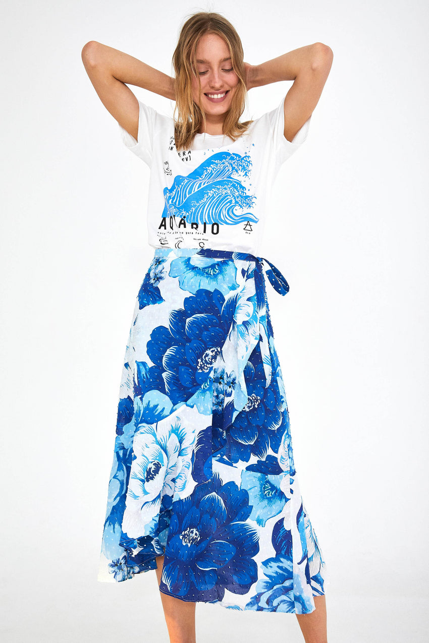 AZULEJO TILE MIDI WRAP SKIRT
