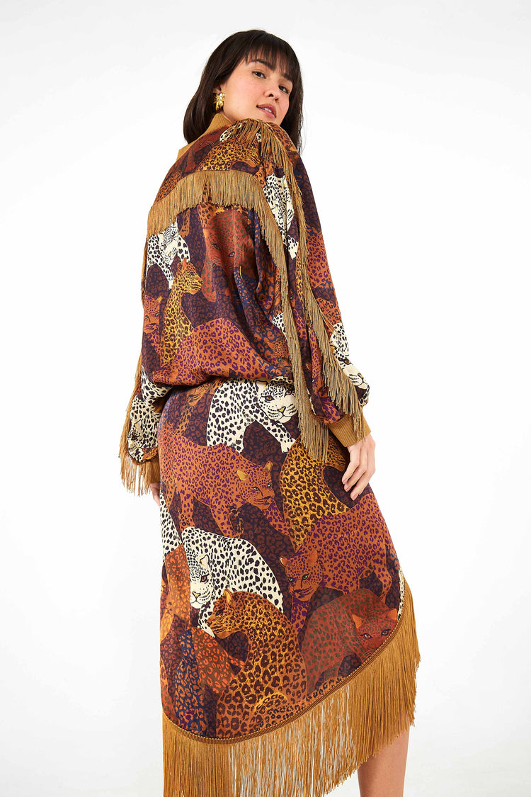 CARAMEL JAGUAR WRAP SKIRT