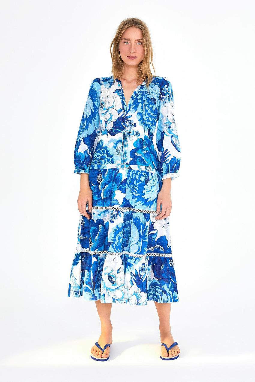 AZULEJO TILE TIERED LONG SLEEVE DRESS