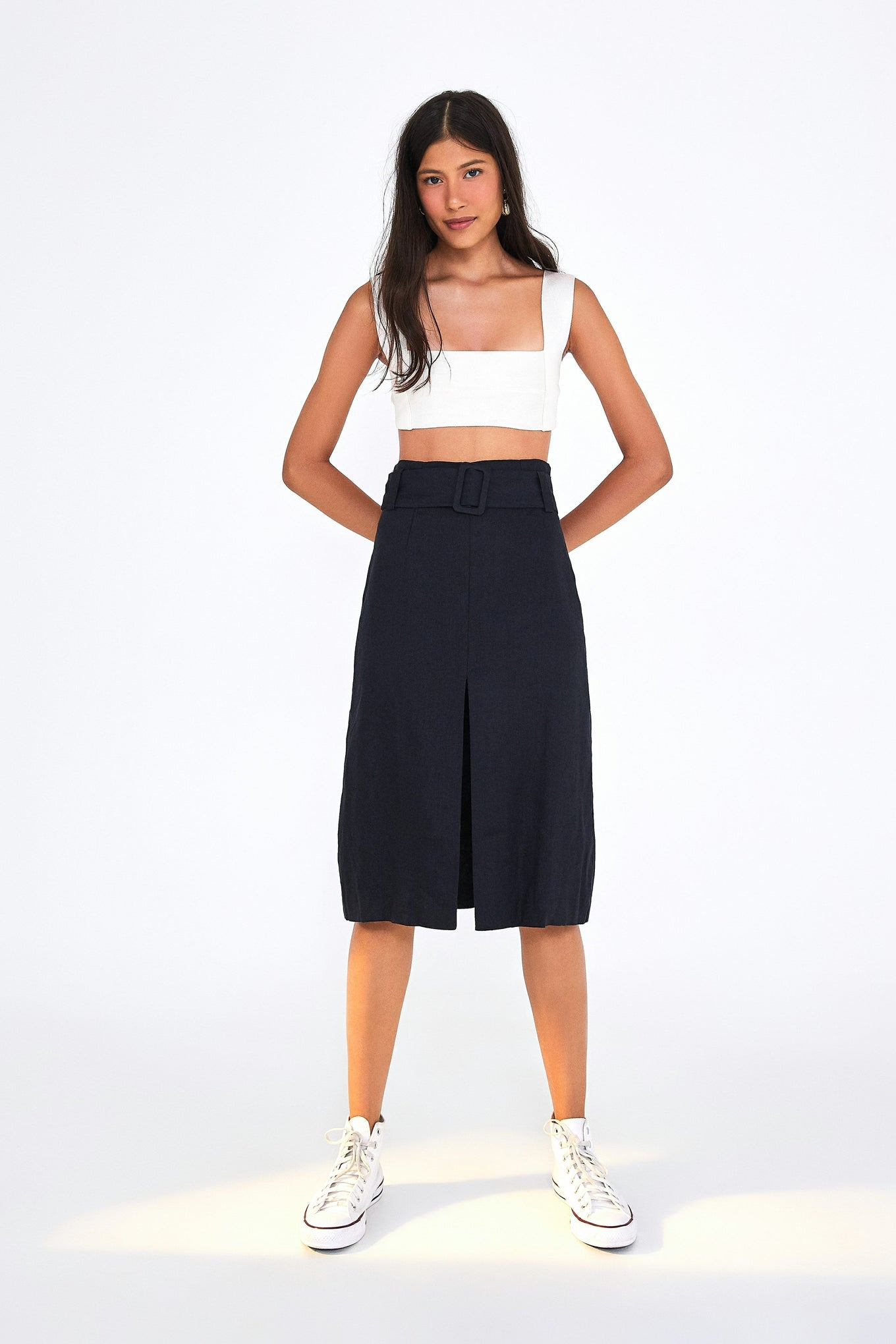 PENCIL SKIRT WITH BELT SOLID