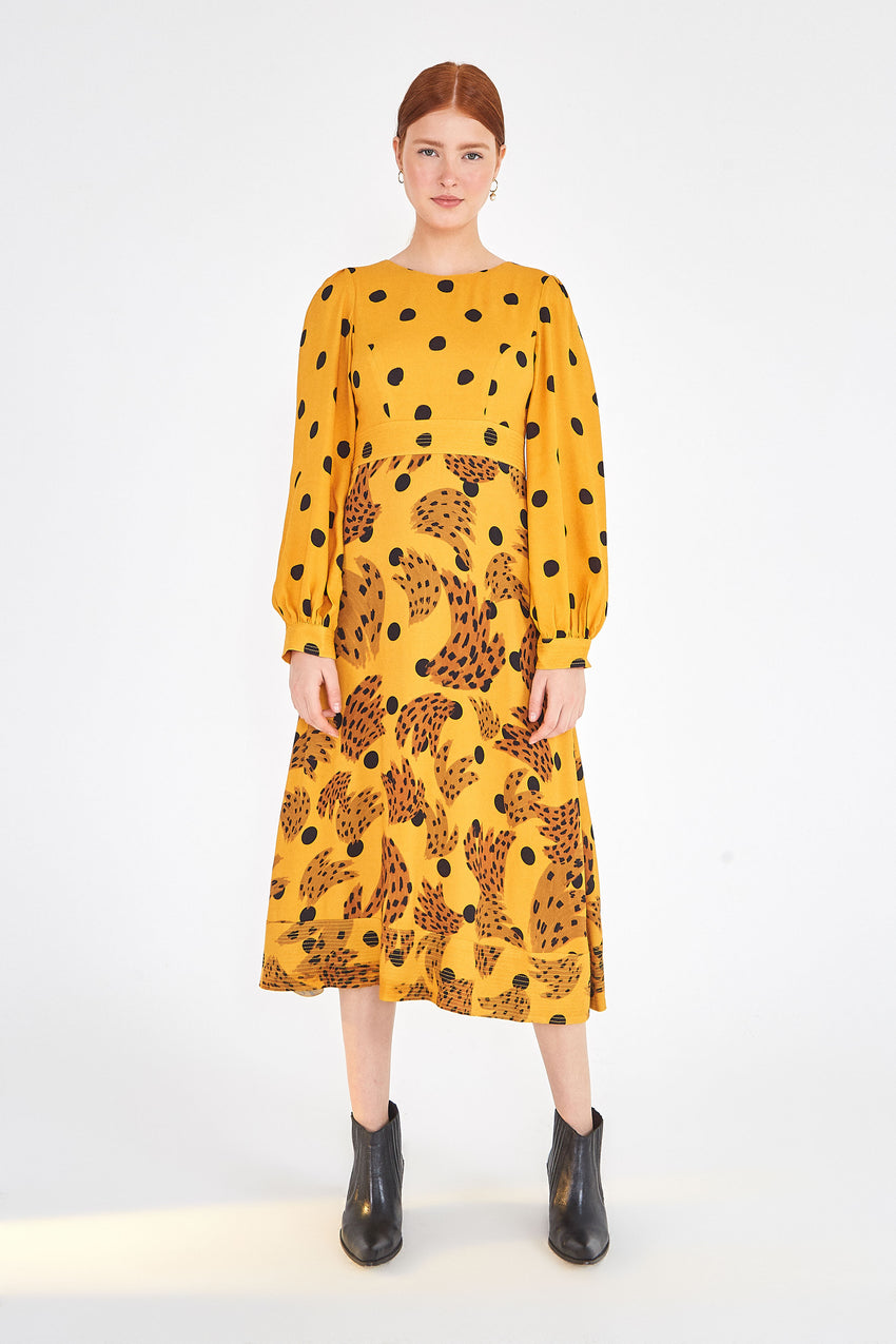 CARAMEL BANANA POLKA DRESS